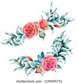 Watercolor asymmetric bouquet with rose and eucalyptus. Hand painted red flowers, eucalyptus leaves and branch isolated on white background. Illustration for design, print or background