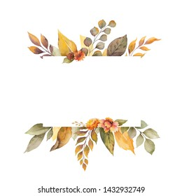 Watercolor autumn banner with leaves, flowers and branches isolated on white background. Illustration for greeting cards, wedding invitations, floral poster and decorations.
