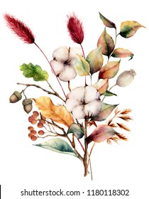 Watercolor autumn bouquet with plants, flowers and berries. Hand painted cotton flowers, lagurus, acorn, leaves and branches isolated on white background. Floral illustration for fall design, print