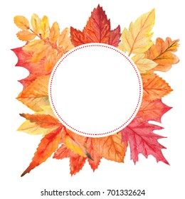 Watercolor autumn composition, fall leaves frame