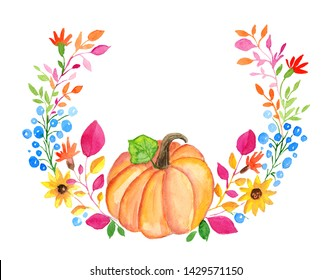 Watercolor autumn floral wreath with pumpkin isolated on white background.Hand painted fall illustration.