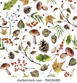 Watercolor autumn forest pattern. Hand painted mushroom, rowan, fall leaves, tree branch, pine cone, berry and acorn isolated on white background. Nature illustration for design