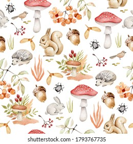 Watercolor autumn forest pattern.Forest animals, leaves,branches,acorn,mushroom,rowan.Fall background