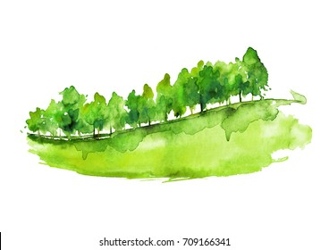 Watercolor autumn forest, silhouette of trees, bushes., Field. Country view. Postcard, logo, card. Drawing of green trees on a yellow grass on a white isolated background.