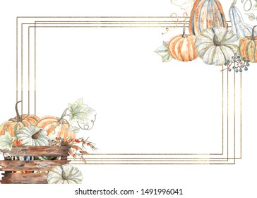 Watercolor autumn frames with orange and green pumpkins, leaves, branches, berries