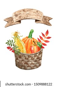 Watercolor autumn harvest illustration Hand painted fall vegetables and fruits - pumpkin, apple, corn, leaves and berries in a woven brown gathering basket, isolated on white background. Holiday decor