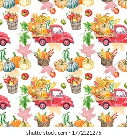 Watercolor autumn harvest truck seamless pattern. Vintage red car with orange pumpkins, wheat, corn, apples, flowers and leaves, isolated on white background. Fall seasonal vegetables print.