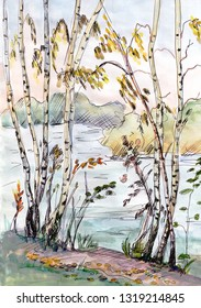 watercolor autumn landscape with birches on bank of river