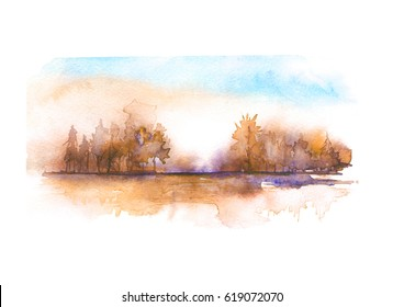 Watercolor autumn landscape, river bank, lake, with trees and bushes against the background of sunset, dawn. In vintage illustration. Brown and orange color