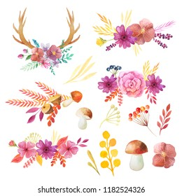 Watercolor autumn leaves, branches, horns, mushroom and plants set. Collection of hand drawn forest nature elemnts isolated on white iperfect for  design project