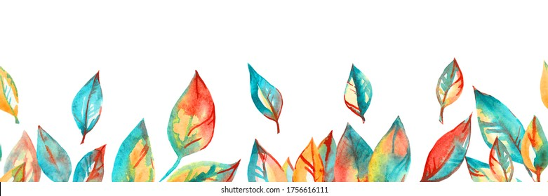 watercolor autumn leaves seamless border