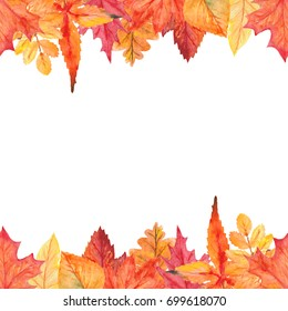 Watercolor autumn leaves seamless border two-way