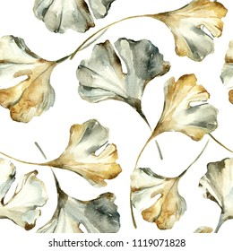 Watercolor autumn leaves seamless pattern. Drawing of ginkgo leaf, water color paper textures. Floral background for fall design. Hand painted natural illustration
