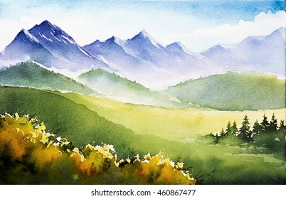 watercolor autumn mountains