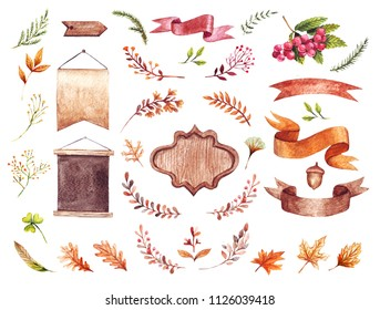 Watercolor autumn nature elements. Hand drawn wreaths, herbs and leaves. Badge, Ribbons and Labels. Design elements. Autumn forest floral decorative.