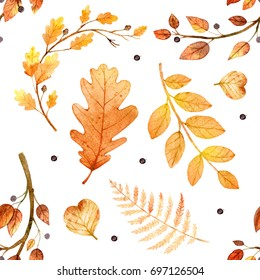 Watercolor autumn nature seamless pattern on white background. Leaves and branches.