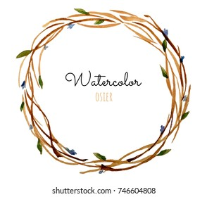 Watercolor autumn osier wreath. Illustration for greeting cards, invitations, and other printing projects.