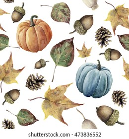 Watercolor autumn seamless pattern. Hand painted pine cone, acorn, berry, yellow and green fall leaves and pumpkin ornament isolated on white background. Botanical illustration for design