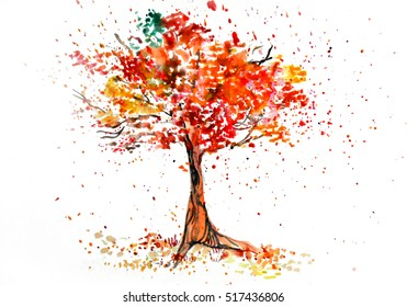 Watercolor of autumn tree
