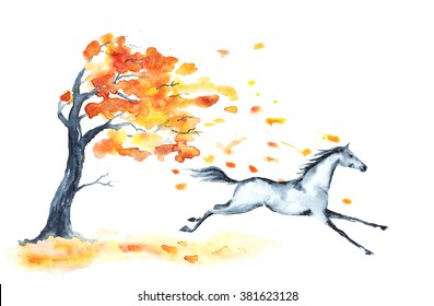 Watercolor autumn tree with red leaves and grey galloping horse on white. Hand drawing yellow leaves fall with wind. England equestrian sport illustration.