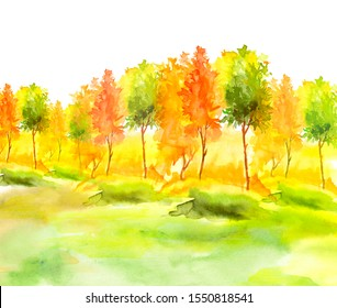 Watercolor autumn trees of yellow, red, orange color. Autumn forest,hill. Watercolor art background. Beautiful splash of paint. Abstract creative background. Country landscape, park.