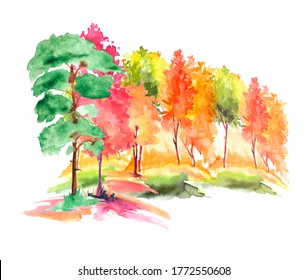 Watercolor autumn trees of yellow, red, orange color. Autumn forest,hill. Watercolor art background. Beautiful splash of paint. Abstract creative background. Country landscape, park. Eco poster