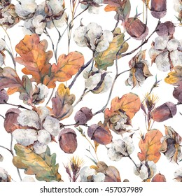 Watercolor autumn vintage background with twigs, cotton flower, yellow oak leaves and acorns. Botanical watercolor illustrations seamless pattern
