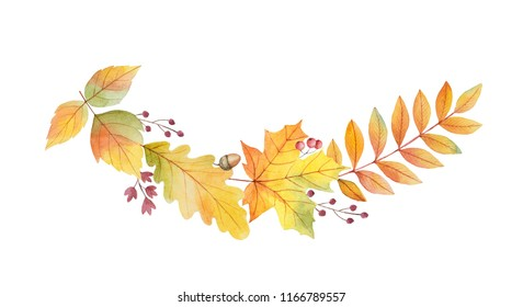 Watercolor autumn wreath with leaves and branches isolated on white background. Autumn illustration for greeting cards, wedding invitations, quote and decorations.