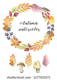 Watercolor autumn wreath with nature elements.