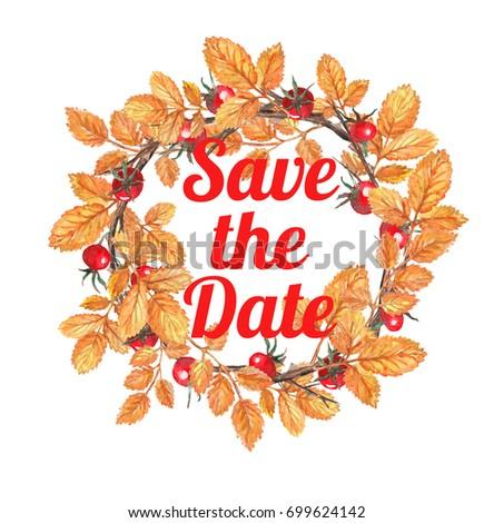 watercolor autumn wreath save date stock illustration 699624142