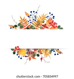 watercolor autumnal floral banner