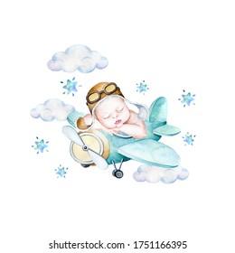 Watercolor baby boy illustration, baby in a plane illustration, beby dreaming,newborn baby boy illustration
