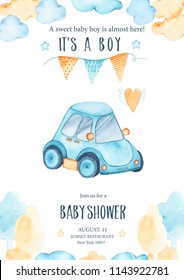 Watercolor its baby boy shower with cute blue car auto garland and clouds trees card invitation on white background. Birthday decoration illustration