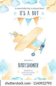 Watercolor its baby boy shower with cute airplane orange plane garland and clouds trees card invitation on white background. Birthday decoration illustration