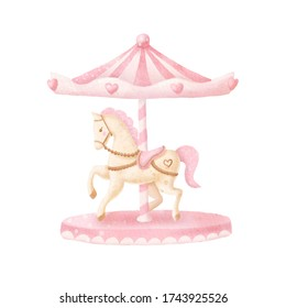 Watercolor baby carousel. Baby print or poster. Hand drawn cute illustration Contemporary art. . Hight quality photo