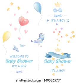 Watercolor baby clipart. Baby shower Boy. Lettering. Colorful balloons, birds, hearts, stars, ribbon, bow tie, crown. White background. Print quality.