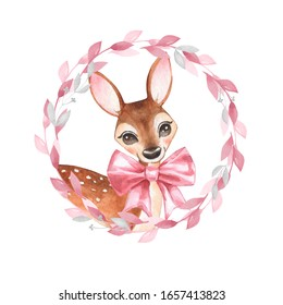 Watercolor Baby Deer. Fawn Illustration isolated on white background