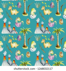 Watercolor baby dinosaurs among volcanoes and palm trees seamless pattern, hand painted on a blue background