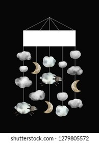 Watercolor baby lullaby carousel isolated on black background for your design, postcards, textile and other. Beautiful and gentle carousel with clouds, moons and sheeps.