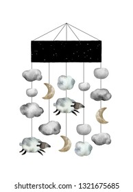 Watercolor baby lullaby carousel isolated on white background for your design, postcards, textile and other. Beautiful and gentle carousel with clouds, moons and sheeps.