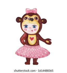 Watercolor baby in a monkey costume. Character monkey. Symbol of chinese new year. Monkey watercolor