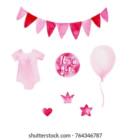 Watercolor baby shower set. Its a girl theme with baloons and flag. For design, print or background.