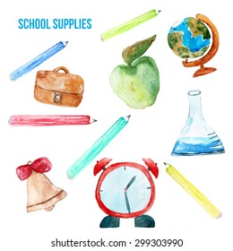 watercolor back to school poster with supplies -  alarm clock, pencils, globe isolated on white background