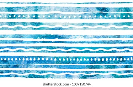 Watercolor background. 2d hand drawn seamless pattern with colorful stripes, dots and waves. Turquoise blue ornament. Isolated on white backdrop