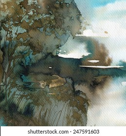 watercolor background with abstract landscape