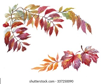 Watercolor background with autumn leaves