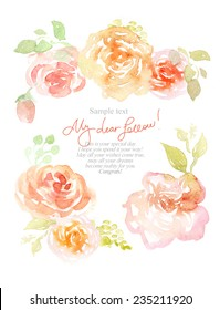 Watercolor background with beautiful flowers, holiday congratulatory card, with sample text