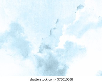 Watercolor background blue white - soft pastel ink splatter texture