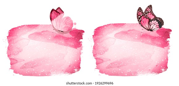 Watercolor background with butterfly on white. Set