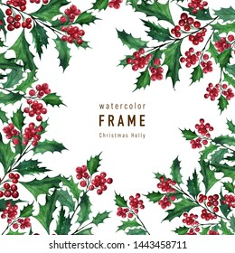 Watercolor background with Christmas plant Holly